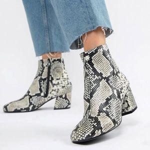 Aldo Piella Snake Print Ankle Boots Size 8.5